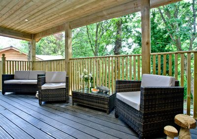 The private balcony at Cedar Lodge, South View Lodges, Shillingford St George