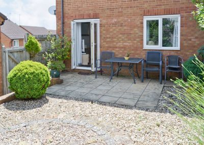The patio at Chaucer Rise, Hulham
