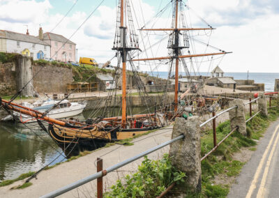 The harbour with its tall ships is a short walk from Chewidden, Charlestown
