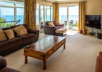 The living area at Cliff Lodge, Maidencombe