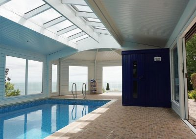 The indoor heated swimming pool at Cliff Lodge, Maidencombe