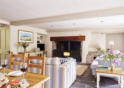 The living area at The Coach House, Gitcombe House Country Cottages, Cornworthy