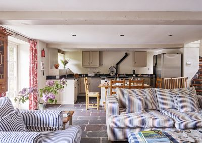 The open plan living, dining area & kitchen at The Coach House, Gitcombe House Country Cottages, Cornworthy