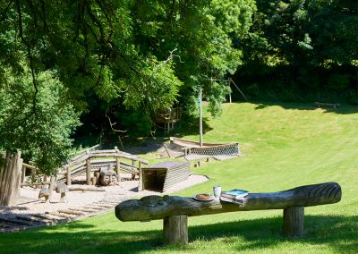 The children's play area at Gitcombe House Country Cottages, Cornworthy