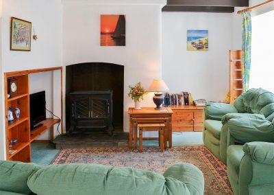 The living area at Cobblers Cottage, Boscastle