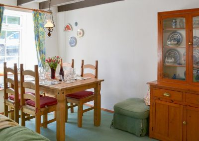 The dining area at Cobblers Cottage, Boscastle