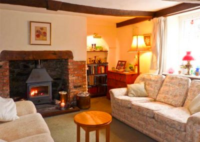 The living area at Coles Cottage, Derriton