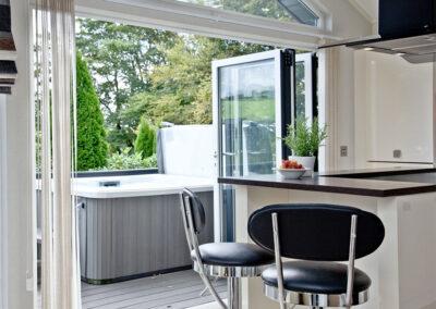 The kitchen breakfast bar at Combe Lodge, Kentisbury Grange, Kentisbury