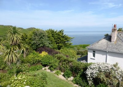 The view from the decked patio at Cotfield House, Mortehoe