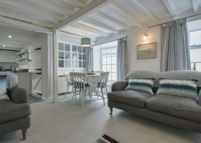 The open-plan living area at Cousham Cottage, Cawsand