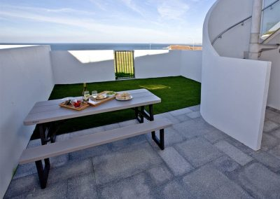 The patio at Crest@64, Newquay