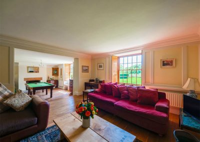 The living area at Crocadon Farmhouse, St Mellion