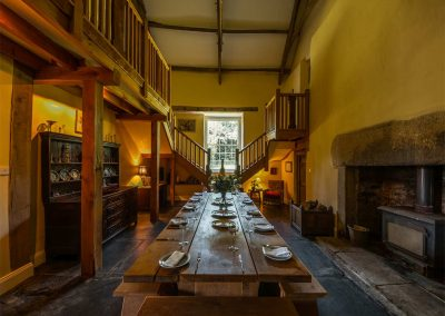 The dining area at Crocadon Farmhouse, St Mellion