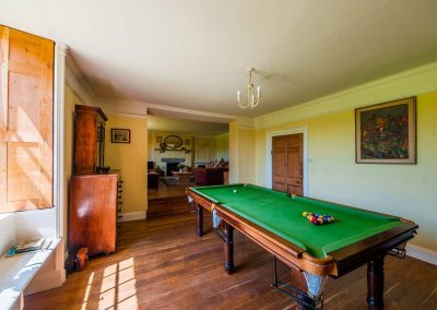 The billiards room at Crocadon Farmhouse, St Mellion