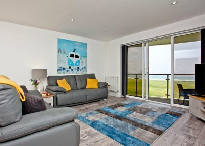 The living area at Dame's Violet, 32 Bredon Court, Newquay