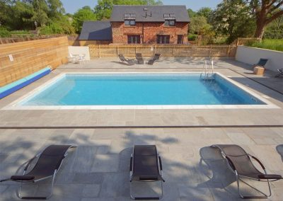 The shared swimming pool at Blagdon House Country Cottages, Blagdon