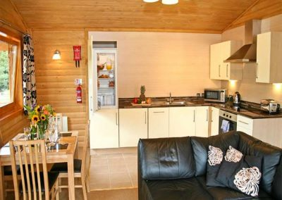 The open-plan kitchen at Dartmoor Edge Lodge, Tedburn St Mary