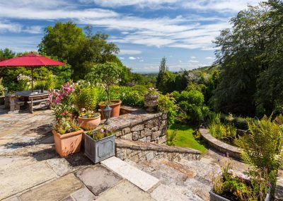 The patio at Dartmoor Tea House, Belstone