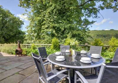 The terrace & countryside views at Devon Priory, Goodleigh