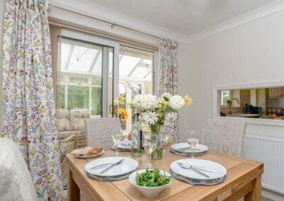 The dining area at Devon Retreat, Paignton