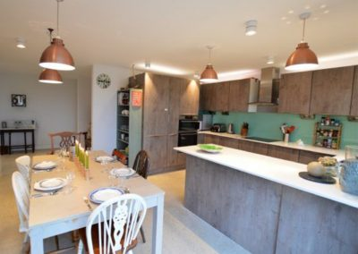 The kitchen & dining area at Dinas View, Constantine Bay