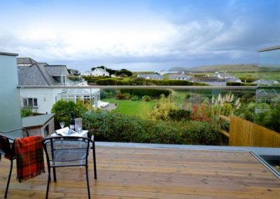 The view from the first floor balcony at Dinas View, Constantine Bay