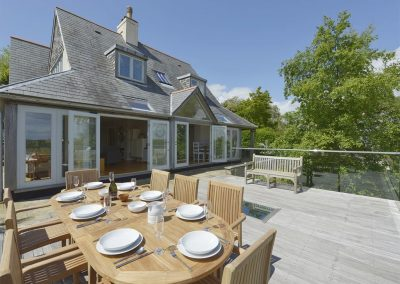 The decked terrace at Dove Cottage, Dittisham