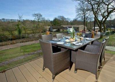 The decked terrace at Drake Lodge, Lakeview Manor, Dunkeswell