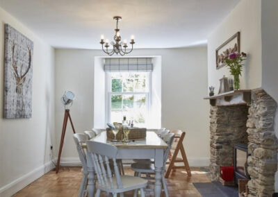 The dining area at East Hill Cottage, Parracombe