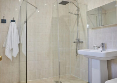 The shower room at East Hill Cottage, Parracombe