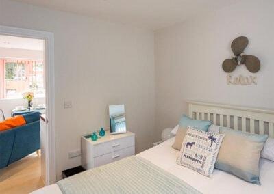The bedroom at Egret, The Cove, Brixham