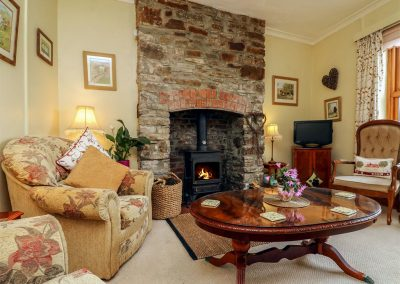 The living area at Elm Cottage, Westleigh