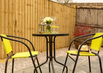 The outdoor patio at Fairmead, Horrabridge