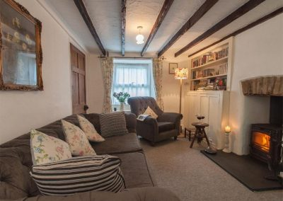 The living area at Fisherton Cottage, Poughill