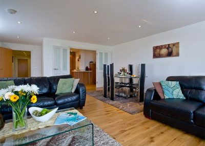 The living area at Fistral View, 14 Bredon Court, Newquay