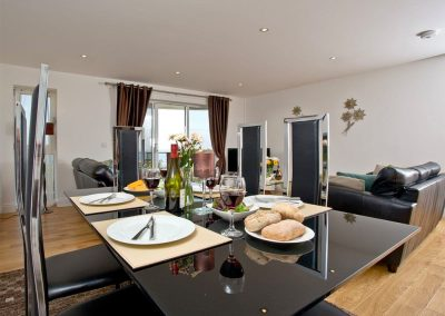 The dining area at Fistral View, 14 Bredon Court, Newquay
