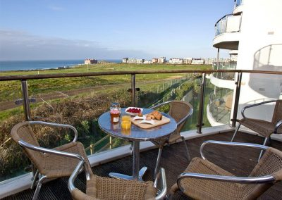 The balcony at Fistral View, 14 Bredon Court, Newquay