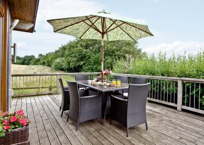The decked patio at Garfield Lodge, Hawkchurch