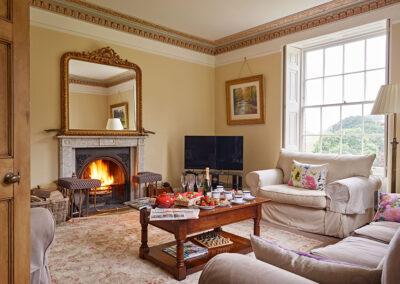 The living room at Gitcombe House, Gitcombe Estate, Cornworthy