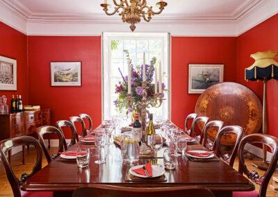 The dining room at Gitcombe House, Gitcombe Estate, Cornworthy
