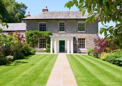 The front patio & garden at Gitcombe House, Gitcombe Estate, Cornworthy