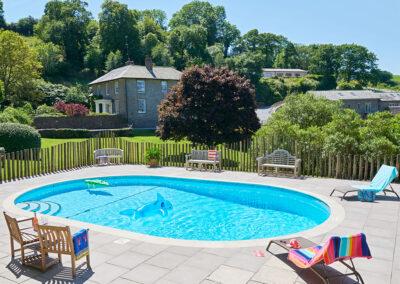 The swimming pool at Gitcombe Estate, Cornworthy