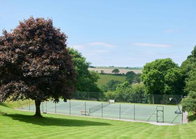 The tennis court at Gitcombe Estate, Cornworthy