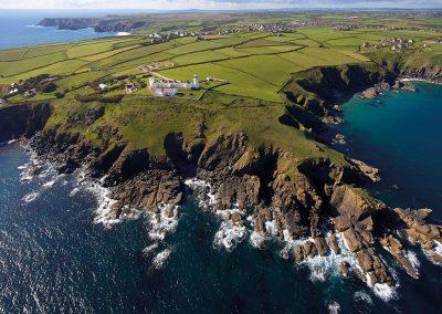 The green countryside & coastal paths surrounding Godrevy, Lizard Lighthouse, Lizard