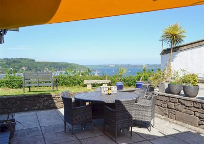 The patio at Gwel An Porth, Falmouth