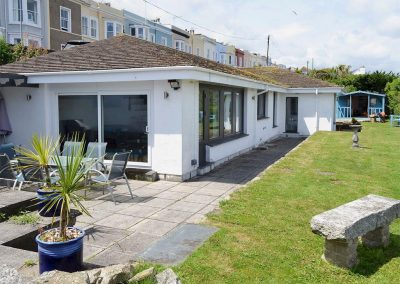 The patio & garden at Gwel An Porth, Falmouth
