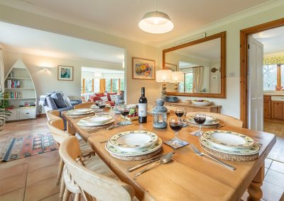 The dining area at Gwella, Roserrow, Polzeath