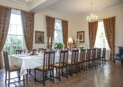 The formal dining room at Hallsanery House, Landcross