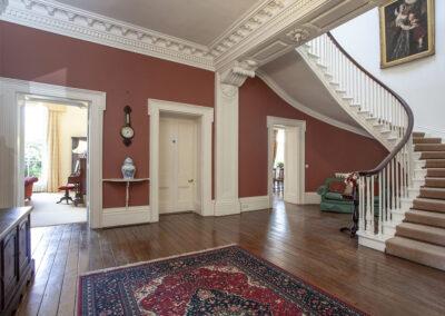 The elegant entrance hall at Hallsanery House, Landcross