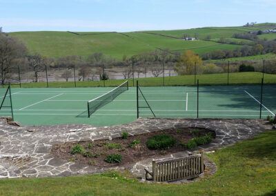 The tennis court at Hallsanery House, Landcross